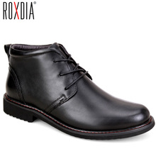 ROXDIA genuine leather boots men plus size 39-45 눈 겨울 일 dress shoes 남성 대 한 망 ankle boots 와 퍼 black RXM049(China)