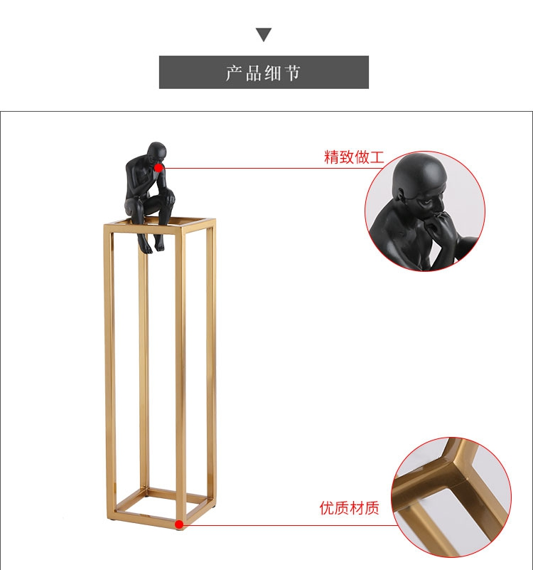 Thinking of Rodin Sculpture Postmodern Thinker Small Black Metal Stainless Steel Frame Home Decoration Room Figure Adornment 6