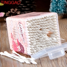 TINGGAO New 200Pcs Pointed handy Cotton Swabs Women Health Make Up q tip Cotton wabs Cosmetic Beauty Swabs Ear Clean Jewelry Hot(China)