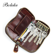 Genuine Leather Car Key Wallets Men Key Holder Housekeeper Keys Organizer Women Keychain Covers Zipper Key Case Bag Pouch 8128