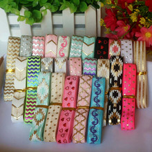 25yards/lot mix 25styles randomly 1yard each style foil printed FOE fold over elastic stretch ribbon band diy hairbands ribbons()