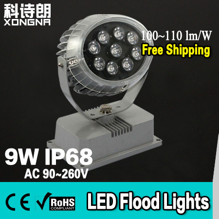 Free Shipping High Power LED 9W Floodlight Outdoor Waterproof IP68 High Lumens LED ChipEpistar 100~110 lm/W led Flood lights<br>