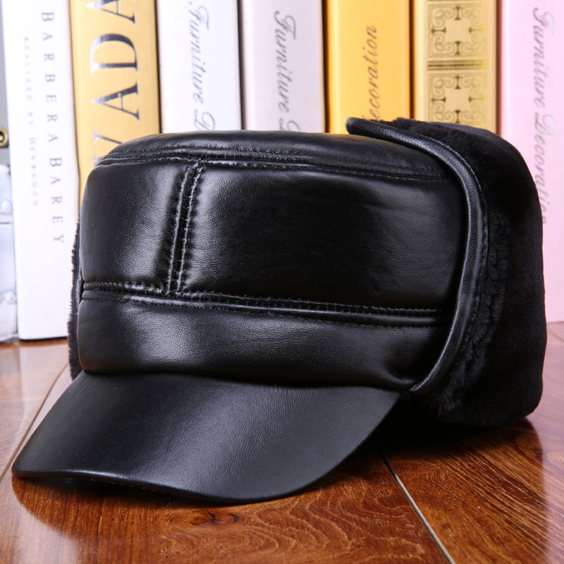 New Fashion Old Man Winter Black Bomber Hats with Ear MuffsGenuine Leather Caps for Men Sheepskin Hats 2017731<br>
