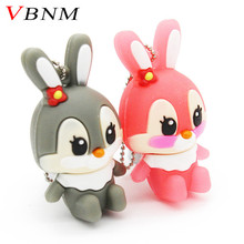 VBNM lovely rabbit usb flash drive 8GB 16GB 32GB usb flash hang decorations memory stick pen drive for girl free shipping