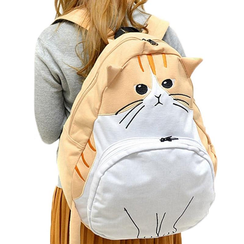 Japanese Cat Cute Canvas Backpacks Female Mochila College High School Bags for Teenage Girl Kawaii Backpack Travel Rucksack<br><br>Aliexpress