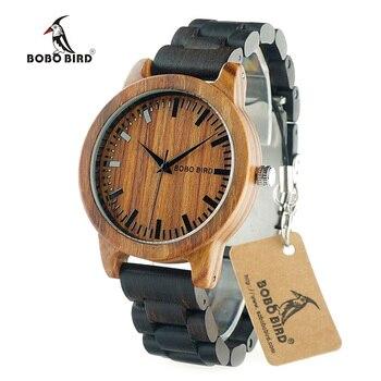 Bobo bird m05 últimas mujeres de los hombres relojes de madera caja de madera de sándalo rojo escala dial cuarzo de la venda de reloj del diseñador de la marca de madera de ébano