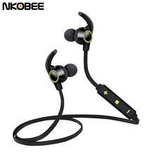 Bluetooth Earbuds Casque Blue tooth Ear buds NKobee Bluetooth Ear Phone Sport Maganet Wireless Headset Bass Casque Earphones(China)