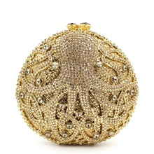 2016 Famous Designer Bags for Women Octopus-Shaped Hand Bags Rhinestone Crystal Clutch UK Canada Sale Round Gold Clutch Purse