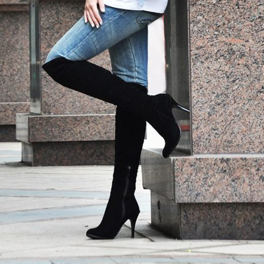 European And American Fine Heel Knight Boots Side Zipper High-heeled Boot Autumn Models Solid Color Round Head Women Shoes<br><br>Aliexpress