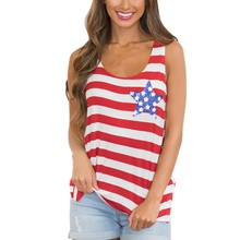 Women Sexy Printed Fashion Vest American Flag Print Summer Tank Top Sleeveless Shirt Tee Tops