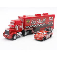 Disney Pixar Cars No.123 Mack Truck + Small Car 123 Racing Driver Diecast Metal Alloy And Plastic Modle Toy Car For Children