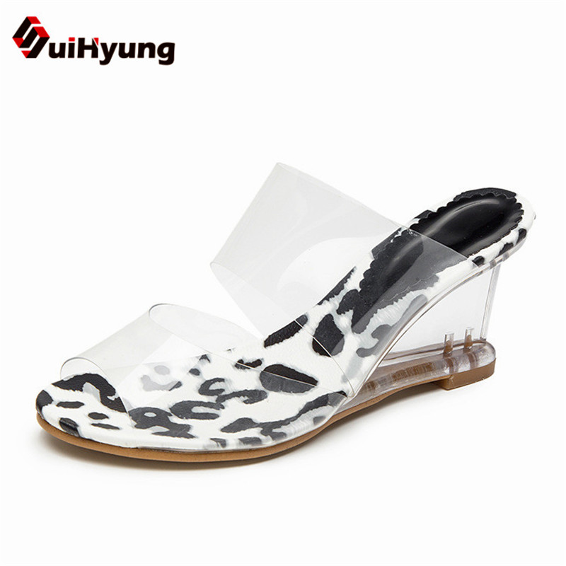 Suihyung New Women Summer Transparent Crystal Shoes Sandals Sexy Cow Slippers High-heeled Female Nightclub Shoes Wedges Sandals<br>