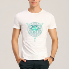 Hillbilly 2017 Men's T-shirts Printing Lotus Flower of Life Mandala in Geometric Triangle T Shirts Men Tops Unisex Clothing Tees(China)
