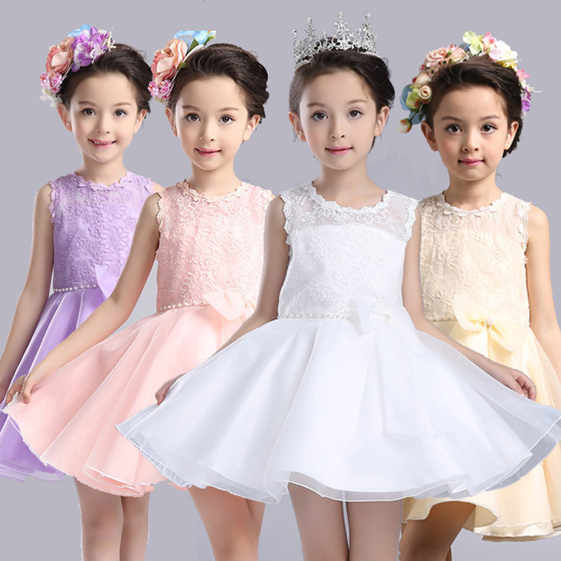 2017 New Summer  Flower Girls White Evening Dress With Bow Children Kids Clothes For Wedding Party Korean Style Baby Costume<br><br>Aliexpress