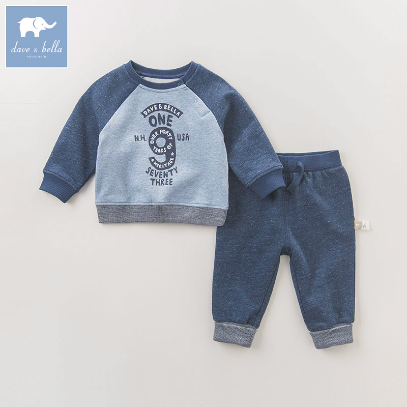 DB6498 dave bella autumn infant boys Active clothing sets printed children suit high toddler outfits Clothing Suits<br>