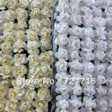 288PCS/LOT Mulberry Paper Rose Flower Bundle/SCRAPBOOKING artificial flower, About 2CM WHITE AND BEIGE / FREE SHIPPING