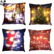 PEIYUAN Light Up Cushion Cover Led Merry Christmas Glow Throw Led Light Pillow Case Super Soft  Pillow case Cushion Pillowcase