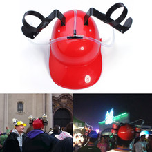 Fashion Fun Unique Cool Party holiday Game Beer Soda Dual Can Holder Straw Drinking Hard Hat Helmet Cap 4 Colors