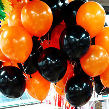 10pcs/set Black and orange Halloween Balloons Thicker Latex Balloon Party Wedding Ballon Solid color Inflatable Balls(China)