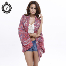 COUTUDI 2017 Summer Sunscreen Shirts Women Beach Wear Tribal Floral Print Cover Ups Batwing Sleeve Cotton Three Quarter Blouses(China)