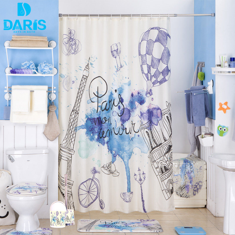 DARIS Bathroom Shower Curtain 180x180cm Plastic Bathroom Set PVC Bath Mat Combination Favorable Set Bathroom Products(China)