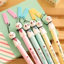 12pcs/lot Kawaii New 3D Sunny Doll design 0.38mm black ink gel pen with Pendant Signature pen Stationery pencils Wholesale