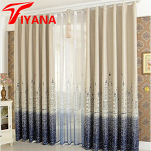 Mediterranean Curtain Finished Blind Sheer Curtain For The Living Room Kids Bedroom Kitchen Castle Design Window Cortina P230Z40(China)
