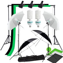Abeststudio Photo Studio Lighting Kit 2x 135W Bulb, 3x 1.6*3m Backdrop, 4x Umbrella 2x Light Stand, 2*Background Support Stand