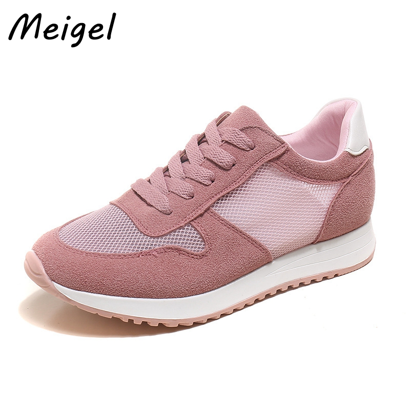 MEIGEL New Fashion Women Casual Shoes Lace Up Zapatos Mujer PU+Mesh Breathable Woman Shoes Girls Student Summer Shoes 458<br>