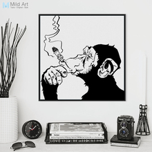Fashion Black White Smoking Gorilla Animal A4 Art Prints Poster Personalized Wall Picture Canvas Painting No Frame Bar Home Deco(China)