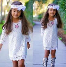 White Toddler Kids Girls Princess Floral Lace Tops Skater Dresses Half Sleeves Cute Summer Girl Dress Mini Sundress Clothes