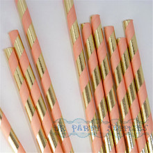 Free Shipping 200pcs Gold Foil and Peach Pink Striped Paper Straws Vintage Retro Wedding Drink Party Accessories Christmas Decor(China)