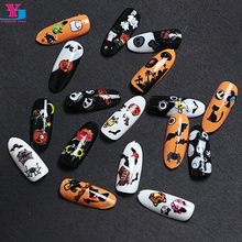 Wholesale 24pcs Fashion Halloween Nail Sticker Art Decorations Plastic Ongle Adesivos Para Unha Women Derss Nail Accessories New