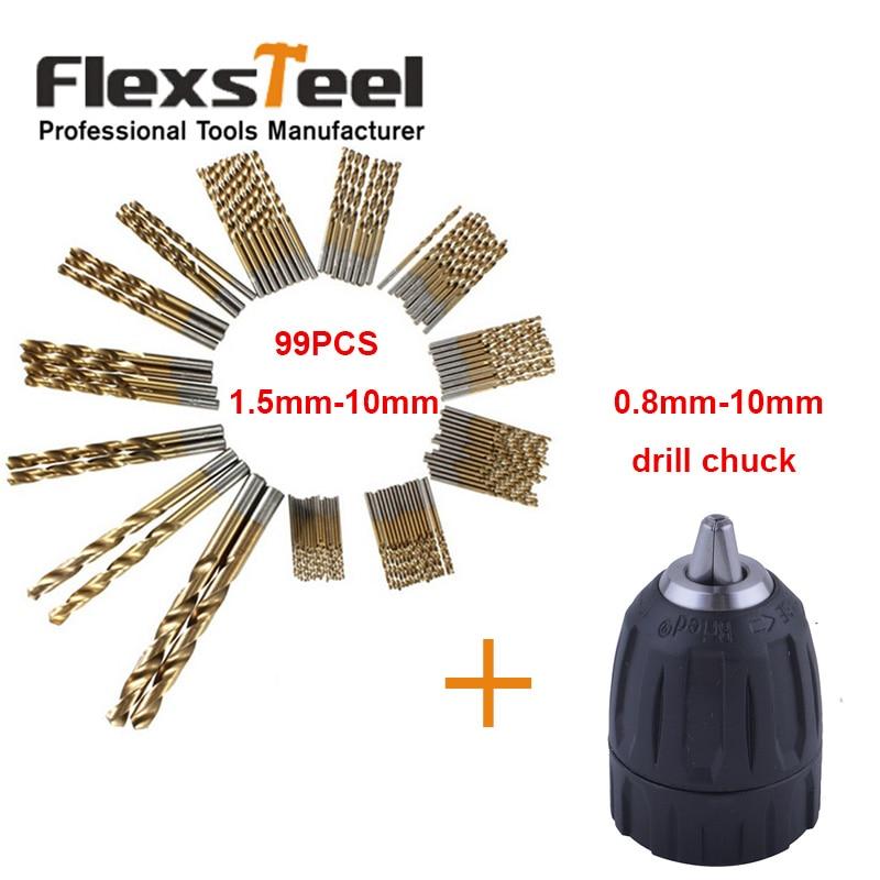 99 Pieces Twist Drill Bits Titanium HSS Drill Bit Set Tool 1.5mm-10mm Brocas+Keyless Drill Chuck Converter Tool 0.8-10mm<br><br>Aliexpress