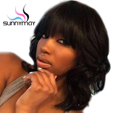Sunnymay 130% Pre Plucked Full Lace Human Hair Wigs With Bangs Short Brazilian Lace Wig For Black Women Wavy Full Lace Wigs(China)