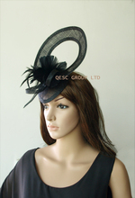 NEW 5 colors.Black Sinamay fascinator hat for Melbourne Cup,Ascot Races,kentucky derby,wedding.FREE SHIPPING