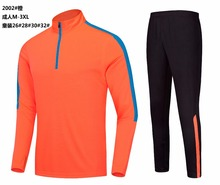 2017 New kids Orange Long sleeve half zipper training suit Sportswear kit Soccer jersey