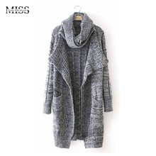 MISSFEBPLUM Fashion Autumn Winter Cardigans Feminino 2017 Woman Sweater Collar Knitted Trench Coats Long Cardigan Jacket Outwear