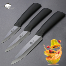 "Kitchen Knives Cook Set Ceramic Knives 3"" Paring 4"" Utility 5"" Slicing Knife Cooking Tools Black Black Vegetable Paring Knives(China)"