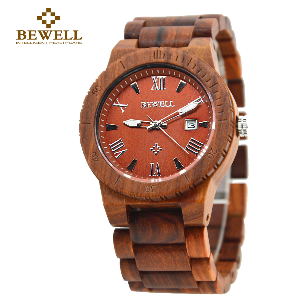 BEWELL Luxury Quartz Wood Watch Men  Display Date Mens Watches for sale Relogio Masculino Gift Boxes For Watches 109B<br>