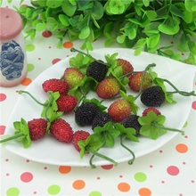 12pcs Cheap Fake Fruit Glass Strawberry Christmas Red Cherry Stamen Mini  Berries Artificial Flower Pearlized Wedding Decoration
