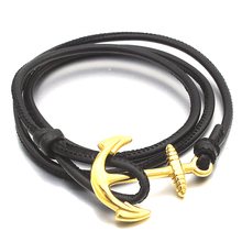 NIENDO Promotion Black  Bracelet Gold Color Copper Alloy Leather Anchor Men jewellery Party Gift DL116