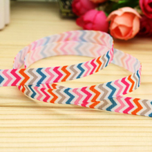"3/8"" 9mm Blue Pink Red Orange Chevron Printed Grosgrain Ribbon for Party Deco Hair Bow DIY Craft Baby A2-9-259"