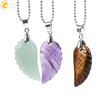 Buy CSJA Natural Gem Stone Angel Wing Necklaces & Pendants Pink Rock Crystal Lapis Lazuli Opal Tiger Eye Obsidian Reiki Jewelry E768 for $1.84 in AliExpress store