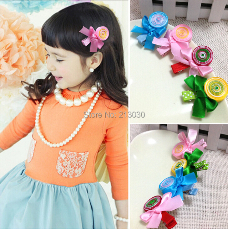 20pcs/lot Good Quality Girls Hair Fringe Clips with Goody lollipop Accessory of handmade 4 colors(China (Mainland))