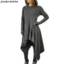 jocelyn katrina brand Womens Hooded Dress women Fashion Casual Autumn Winter Wear Bodycon Casual irregular long dress