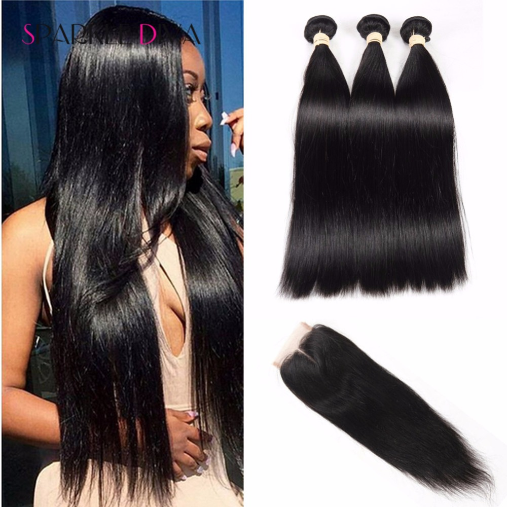 Grade 8A Straight Mink Brazilian Hair With Closure Virgin Human Hair With Closure Sparkle Diva Products 3 Bundles With Closure<br><br>Aliexpress