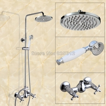 NEW Chrome Bathroom Shower Set Mixer Faucet with 8 inch Rain Shower Head and Dual Cross Handle Mixer Tap Brass Finish Wcy301