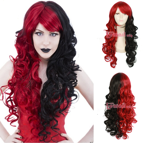Free Shipping 70cm Synthetic Hair Wavy Mixed Black Red Lolita Gothic Cosplay Wig<br><br>Aliexpress