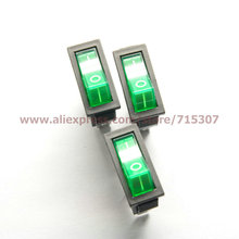 PHISCALE 10pcs/lot 3 Pin 16A 250V Green Button Light Rocker Switch KCD3-101N KCD2 On Off Rocker Power Switches(China)